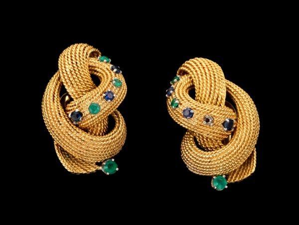 1355: Pair of emerald and sapphire earrings, webb, Pair