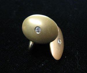 1359: Gentlemen's gold and diamond cufflinks, , 14 kara
