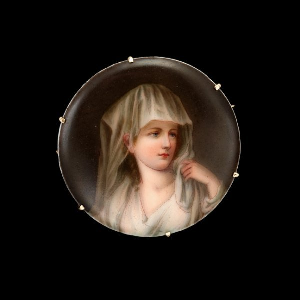 1363: Painted portrait pin, , Transfer image of a woman