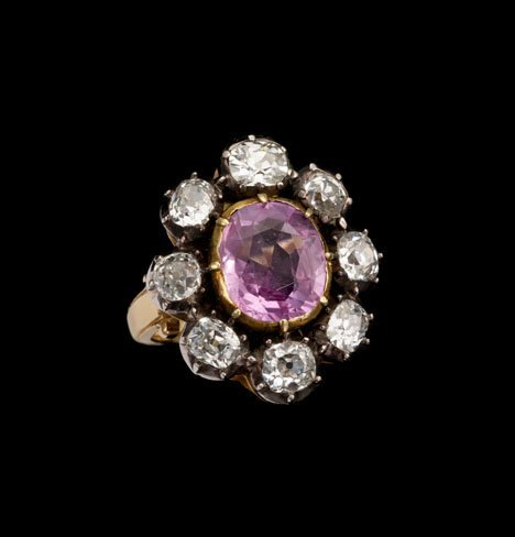 1496: Victorian pink topaz ring with old mine cut diamo