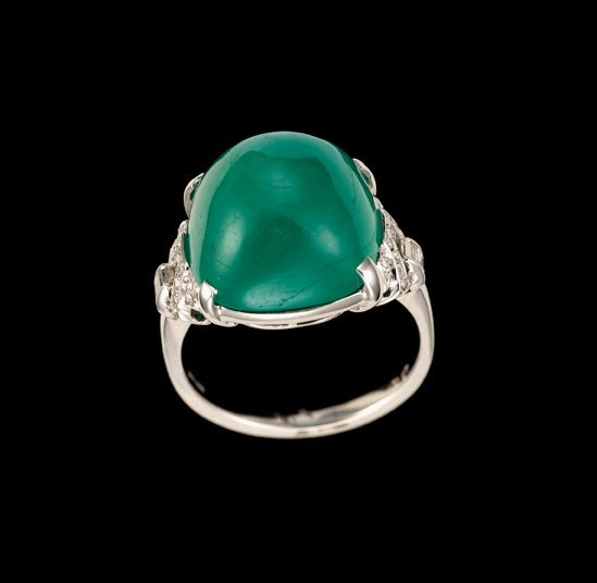 1642: Emerald and diamond dinner ring, art deco, Large