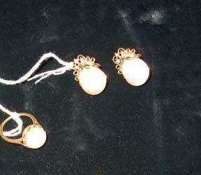 MABE' PEARL AND DIAMOND EARRINGS AND RING 20th c