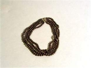 FOUR STRAND GREY CULTURED PEARL NECKLACE 20th c.