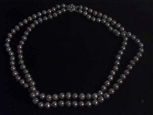 GREY DOUBLE STRAND CULTURED PEARL NECKLACE 20th c
