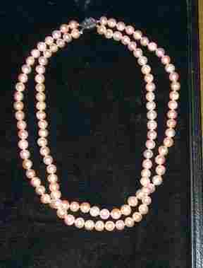 """PINK"""" DOUBLE STRAND CULTURED PEARL NECKLACE 20th"""