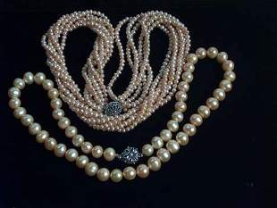 """TWO PIECE PINK"""" CULTURED PEARL ROPE NECKLACE AND"""