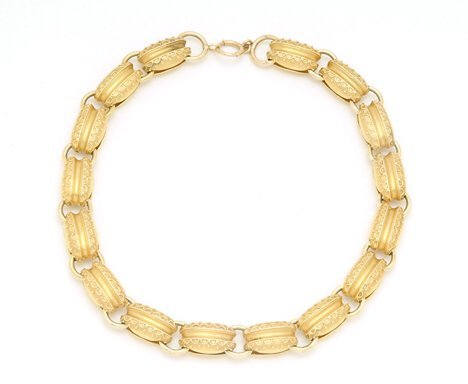 5014: 14K YELLOW GOLD NECKLACE 20th c. With decorative