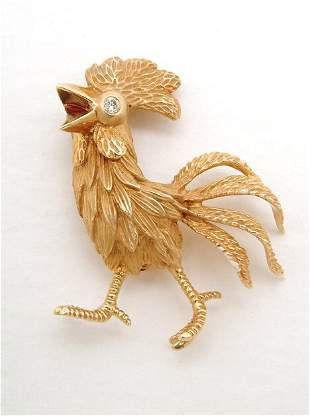 """YELLOW GOLD AND DIAMOND ROOSTER"""" PIN 20th c. With"""