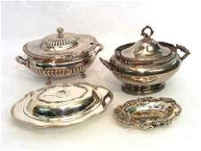 5101 FOUR PIECE SMALL STERLING TRAY AND SILVER PLATE T
