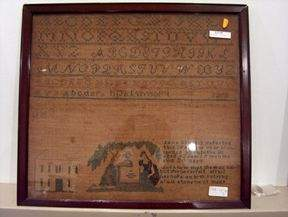 FRAMED SAMPLER mid 19th c. Wrought in 1839 with t
