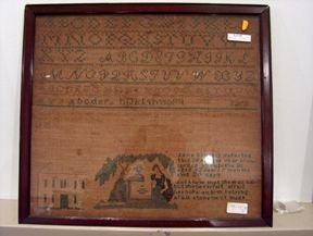 5390: FRAMED SAMPLER mid 19th c. Wrought in 1839 with t