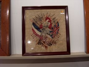 5390A: FRAMED COAT OF ARMS NEEDLEWORK 19th / 20th c. De