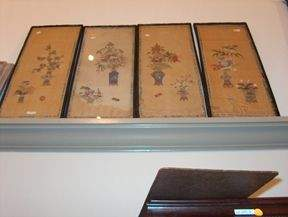 FOUR PIECE PAINTED SILK PANELS 19th / 20th c. Dep