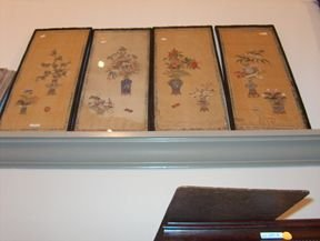 5394: FOUR PIECE PAINTED SILK PANELS 19th / 20th c. Dep