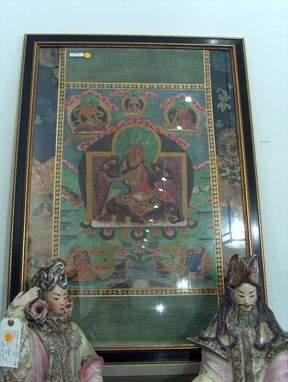 FRAMED TIBETAN TANKA 19th c. A religious painting
