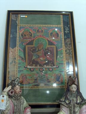 5395: FRAMED TIBETAN TANKA 19th c. A religious painting