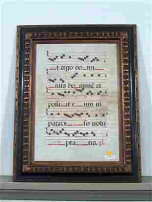 FRAMED MANUSCRIPT 17th c. Choir book leaf on vell