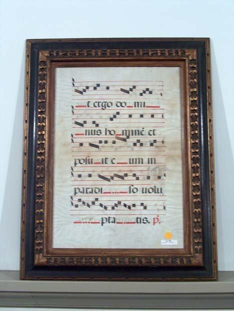5396: FRAMED MANUSCRIPT 17th c. Choir book leaf on vell