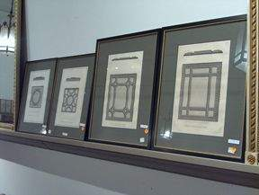 FOUR PIECE FRAMED BOOKPLATES 19th c. Of architect