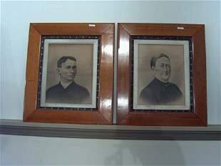 FOUR PIECE OAK FRAMED VICTORIAN PORTRAITS late 19