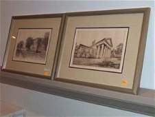 5420: PAIR OF FRAMED ETCHINGS 20th c Featuring the hous
