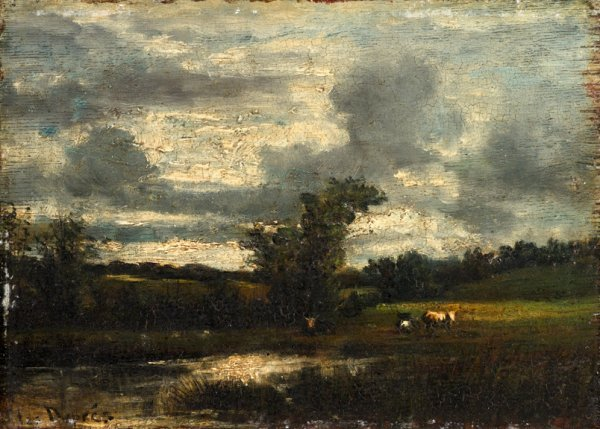 13: JULES DUPRE, (FRENCH 1811-1889), 'MEADOWLAND SCENE'
