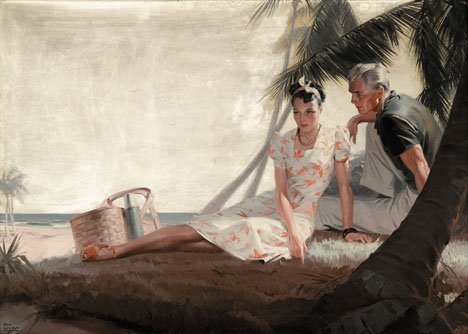 104: TOM LOVELL, (AMERICAN 1909-1997), LOVERS BY THE PA