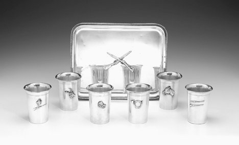 1001: French silver plate mint julep serving set, mid 2