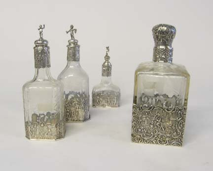 1004: Dutch sterling silver mounted glass decanter, , T