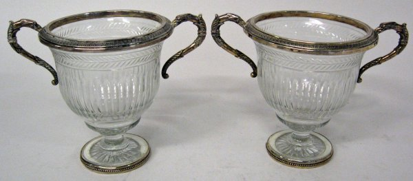 1006: Pair of French silver mounted cut-glass urns, ret