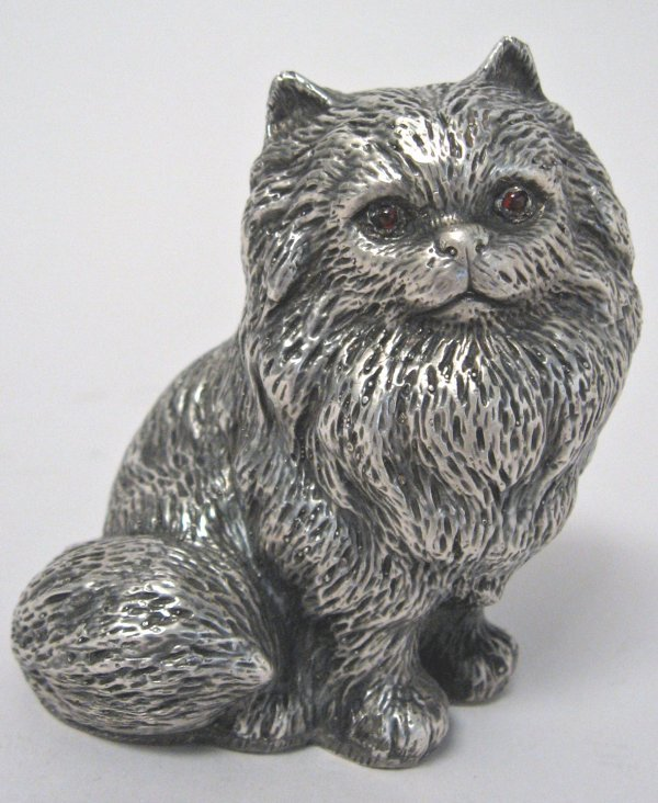 1010: Russian silver figure of a cat, moscow, 1908-1926