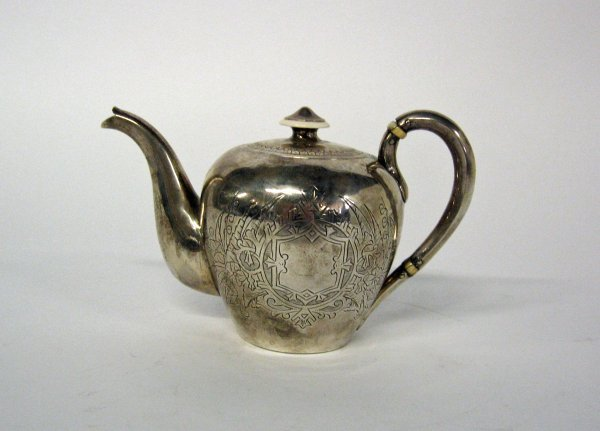 1011: Russian silver teapot, late 19th century, Of oval