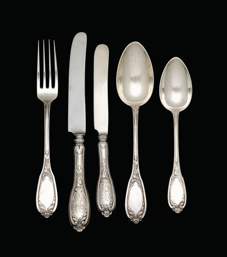 1014: Russian silver partial flatware service, maker's