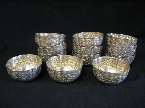 1020: Set of twelve Siamese silver bowls, , Each decora