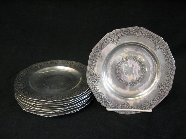 1021: Set of ten Siamese niello silver side plates, , D