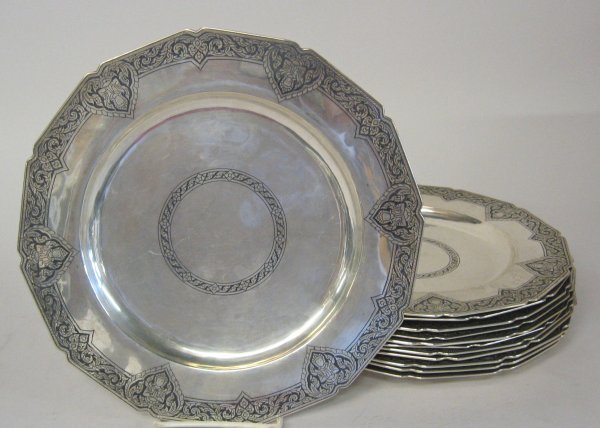 1022: Set of twelve Siamese niello silver service plate