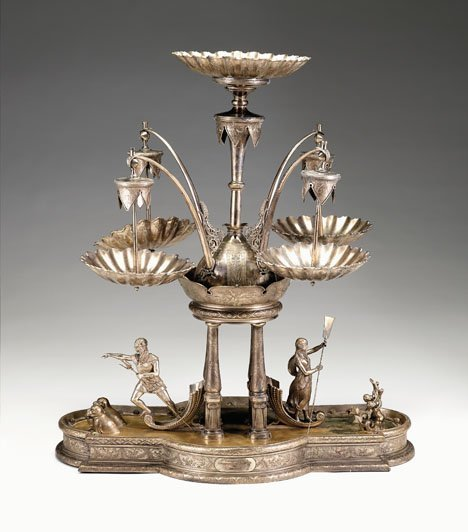 1038: Large American silver plate centerpiece, late 19t