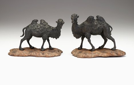 1414: Pair of Japanese bronze bactrian camels, meiji pe