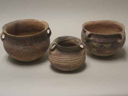 2001: Three Chinese pottery jars, neolithic period, Usu