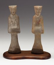 2013: Two Chinese grey pottery burial figures of female