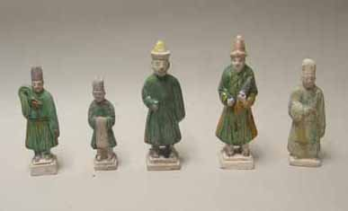 2018A: Five Chinese Sancai glazed pottery figures, tang