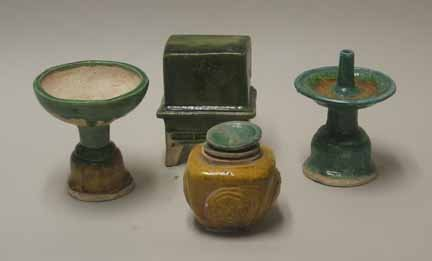 2018B: Five Chinese Sancai pottery items, tang dynasty