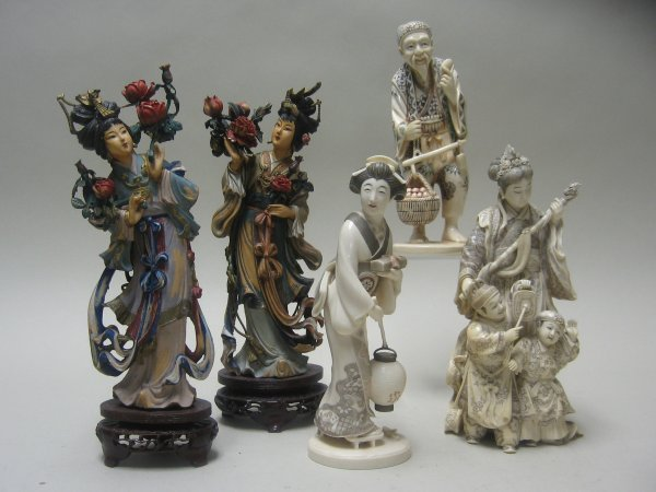 2307: Two ivory models and three resin models, , Includ