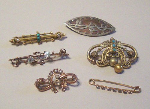 10: SIX ANTIQUE BAR BROOCHES
