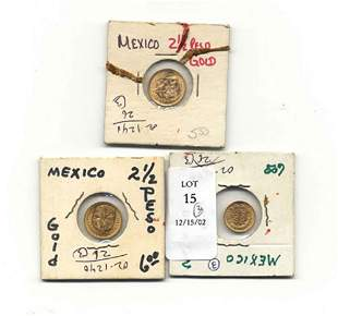 THREE MEXICAN GOLD COINS