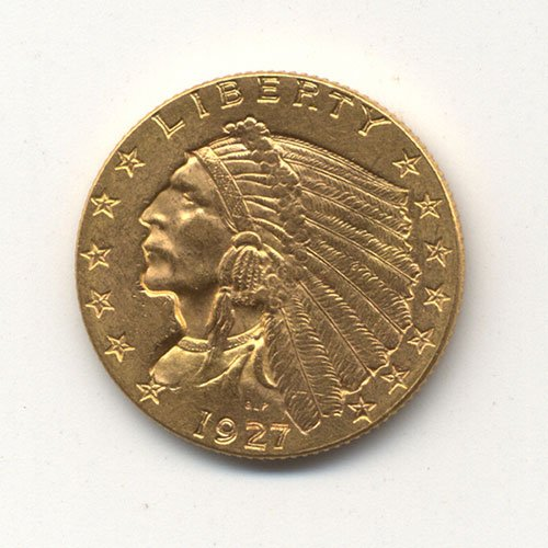 19: A 1927 U. S. 2-1/2 DOLLAR INDIAN HEAD GOL
