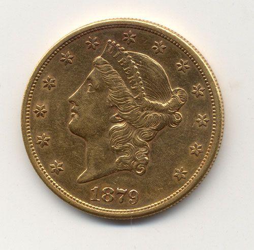 AN 1879-S U. S. TWENTY DOLLAR GOLD PIECE