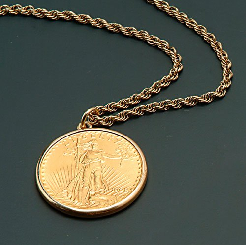 21: A 14K YELLOW GOLD 25-INCH NECKCHAIN