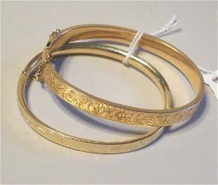 TWO 14K YELLOW GOLD BANGLES