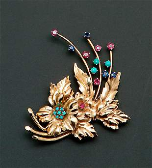 """A 14K YELLOW GOLD & """"JEWELED"""" FLORAL BROO"""